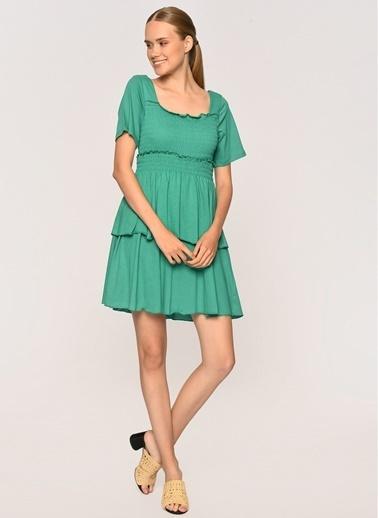 Loves You Gipeli Katlı Penye Elbise Yeşil